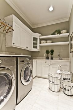 Wrap around cabinets in the laundry room