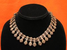 Antique Victorian Heavy Brass Floral Tab Link Woven by ditbge, $215.00