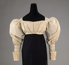 Bodice  Date: ca. 1825 Culture: American Medium: cotton Dimensions: Length at CB (a): 7 in. (17.8 cm) Credit Line: Brooklyn Museum Costume Collection at The Metropolitan Museum of Art, Gift of the Brooklyn Museum, 2009; Gift of the Staten Island Institute of Arts and Sciences, 1959 Accession Number: 2009.300.15a–d