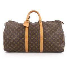 Pre-Owned Louis Vuitton Keepall Bandouliere Bag Monogram Canvas 55 ($850) ❤ liked on Polyvore featuring bags, luggage and brown
