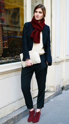 Like the combo of burgundy and navy.   City Chic    wine booties #lulus #holidaywear