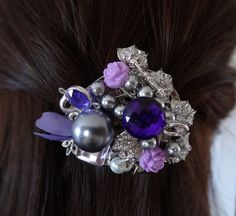 Purple Passion Hair Barrette by wynbrit on Etsy, $36.00
