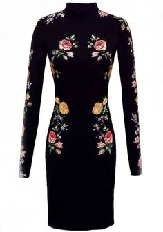 Black Flowers Print Slim Dress