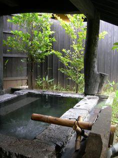 Open-air bath of Japanese style inn at Sujiyu Hot Spring Ōita Prefecture Japan