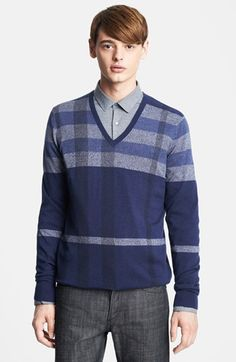 Gift Style: Burberry London Plaid Wool Blend V-Neck Sweater