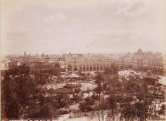 Imagen del Zócalo de la Ciudad de México,  aun con jardines y árboles a todo lo ancho de la plaza.  Foto tomada a finales del siglo XIX.