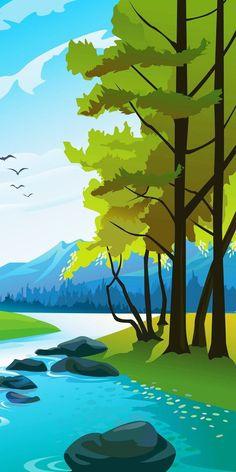 Artistic Wallpaper, Minimal Wallpaper, Graphic Wallpaper, Anime Scenery Wallpaper, Landscape Wallpaper, Wallpaper Backgrounds, Fantasy Landscape, Landscape Art, Landscape Paintings