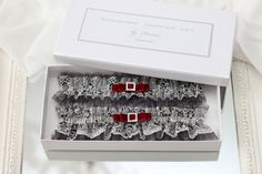 grey wedding garter set with red grey bridal garter set