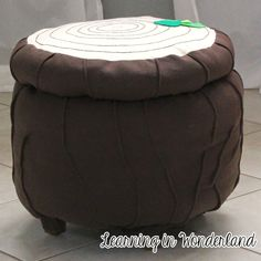 Woodland theme stool made from a thrifted ottoman | Learning In Wonderland