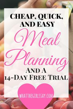 "We love this Meal Planner help! Running short on money, time, or patience when it comes to planning your meals?  Need Meal Planning on a budget?! This Meal Plan will help you save tons of money, give you awesome recipes, AND you get 14 days of meals for FREE, just for trying it out!  Easy, Quick, and Cheap Meal Planning!  No more ""what do you want for dinner?"" ""IDK!!"" fights. This plan is the best Meal Planning service we have ever come across.  You are going to want to check this out!"
