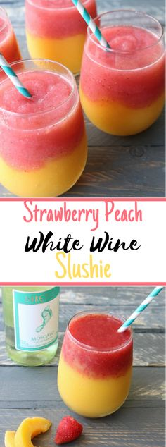 will love these strawberry peach white wine slushies - super easy to make and the perfect drink for your summer entertaining!You will love these strawberry peach white wine slushies - super easy to make and the perfect drink for your summer entertaining! Refreshing Drinks, Yummy Drinks, Healthy Drinks, Yummy Food, Yummy Eats, Yummy Yummy, Detox Drinks, Food And Drinks, Make Drinks