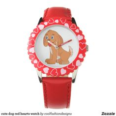 cute dog red hearts watch