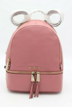 79515c26581d NWT MICHAEL Michael Kors Rhea Zip Pink Rose Leather Backpack Bag New $298 # MichaelKors #