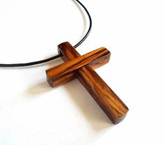 Zebrano Wood Cross Pendant with Cord by DustyNewt on Etsy