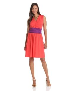 Lilla P Womens Stretch Color Block Shirred Waist Cross Front Dress   Style I Need