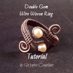 Learn to create a bold, classic-looking ring using basic wire work and wireweaving skills with this tutorial from Wynter Creations. This design includes a number of beginning and intermediate wire wor Wire Jewelry Rings, Copper Wire Jewelry, Wire Jewelry Making, Diy Jewelry, Beaded Rings, Beaded Jewelry, Jewlery, Jewellery Making, Fashion Jewelry