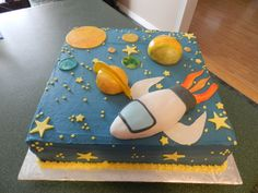 my aunt made this Birthday Sheet Cakes, Birthday Cake, 5th Birthday, Birthday Ideas, Galaxy Cake, Sugar Bread, Space Party, Cakes For Boys, Themed Cakes
