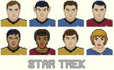 Star Trek Parody Cross Stitch Pattern-Kirk, McCoy, Spock, Scotty, Sulu, Uhura, Chevok, Nurse Chapel, space