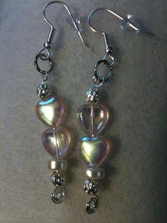 Pink heart bead earrings by jeannare on Etsy, $8.00