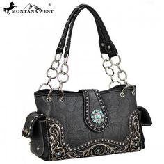 WESTERN CONCHO HANDBAG - BLACK Camo Bag, Black Handbags, Winter Boots, Montana, Fashion Jewelry, Bling, Shoulder Bag, Wallet, Purses