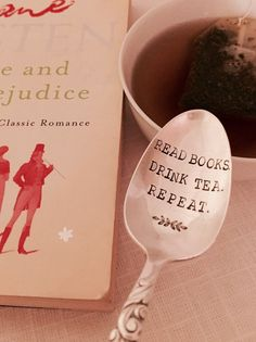 Tea lover stamped spoon, book lover spoon, unique tea gift, book club favor, vintage stamped spoon created by The Paper Spoon