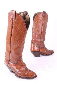 VINTAGE OLATHE LEATHER WESTERN BUCKAROO COWBOY BOOTS USA SIZE 8 D #Olathe #CowboyWestern