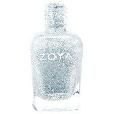 Zoya Nail Polish in Luna - Light, shimmering sheer silvery dove gray base loaded with shiny silver glitter