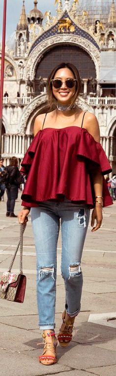 Anna October Off The Shoulder Ruffle Top // Fashion Look by Aimee Song