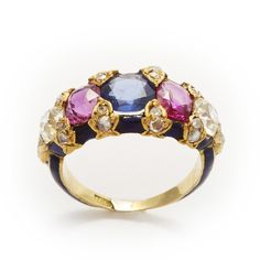 Five stone sapphire, ruby and old mine diamond ring, set in a gold mount with blue enamel. English, ca. 1890