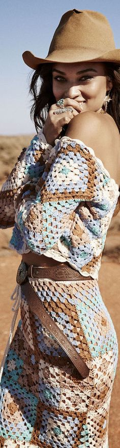 Granny squares in Boho colors and themes