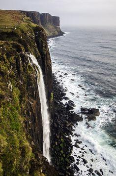 Kilt Rock Waterfall (by jamiefg) Northern Isle of Skye. It was brilliant. The wind makes the railing sing like wind chimes!
