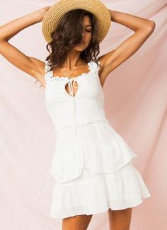 Buy Coure Dress - White at Peppermayo online now. Browse the latest fashion trends, & more! Cute Website, Latest Fashion Trends, Fit And Flare, White Dress, Neckline, Shopping, Dresses, Vestidos, Plunging Neckline