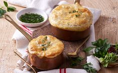 The whole family will love this novel take on a creamy chicken stew topped with a tasty puff pastry lid. Creamy Chicken Stew, Muffin, Tasty, Mugs, Dinner, Cooking, Breakfast, Recipes, Food