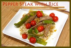 Quick and Easy Pepper Steak with Rice! Delicious dinner idea! by whatscookingwithruthie.com #recipes #main_dish #beef