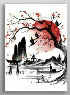 'Japan dream' Floor Pillow by Daisyart-lab Japanese Artwork, Japanese Tattoo Art, Asian Artwork, Tattoo Japonais, Samurai Artwork, Japan Tattoo, Japon Illustration, Japan Art, Ink Art
