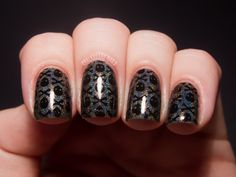 Urban Outfitters Eyes Wide Shut (a black creme) stamped over HITS Zeus using Vivid Lacquer plate From Chalkboard Nails. Funky Nails, Love Nails, How To Do Nails, Pretty Nails, Stamping Plates, Nail Stamping, Rockabilly Nails, Pirate Nails, Chalkboard Nails