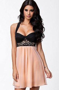 Exquisite stretch skater dress with rhinestones detailed, it features black halter top with wide shoulder straps crossed on back, the padded cups Cheap Dresses, Sexy Dresses, Fashion Dresses, Black And Pink Dress, Rhinestone Dress, Luxury Dress, Hot Dress, Club Dresses, Party Dresses