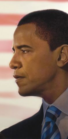 Tim O'Brien, painted portrait of Barack Obama Tim O'Brien, painted portrait of Barack Obama