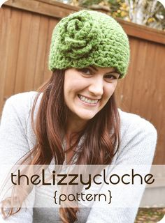 The Lizzy Cloche Crochet PATTERN Sizes 12 Months to Adult Hat Beanie with Flower