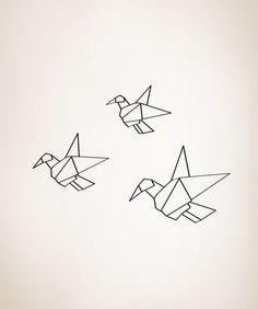 Vinyl Wall Decal Sticker Origami Flock #OS_MG309