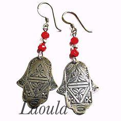 Boucles d'oreilles argent ethniques main de Fatma 267632