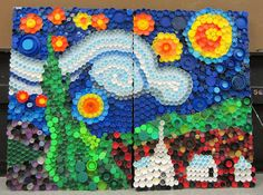 Mrs. Art Teacher!: every cap counts-our bottle cap mural...a really nice recap of how one of these murals went for one teacher.  Has some good tips if you plan to attempt one of these yourself!
