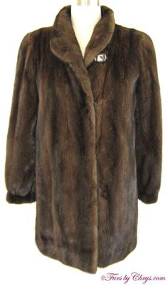 Mahogany Mink Jacket #MM785; $1000.00; Excellent Condition; Size range: 2 - 6 Petite. This is a stunning genuine natural mahogany mink fur jacket in the popular 3/4-length (stroller coat), so it is very versatile. It has an Alan Furs label and features a small shawl collar, banded bracelet cuffs and lightly padded shoulders.  It is constructed of female mink pelts. Your purchase will be accompanied by a copy of a recent appraisal. Superior pelts were used and the construction is impeccable.