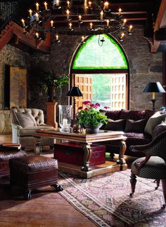 This room has a medieval modern day look.