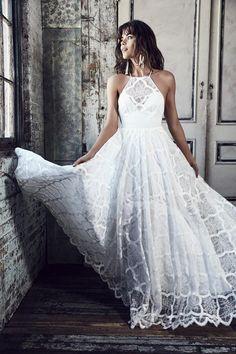 lace halterneck wedding dress by Grace Loves Lace bridal 2016 - BLANC