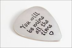 Personalized Guitar Pick - Sterling Silver - Custom Quote or Names