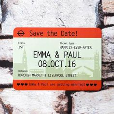 Train Ticket Save the Date - £1.50 each - click to shop