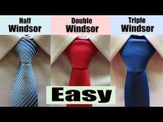 How to tie a Windsor Knot - Half Windsor,Double Windsor and Triple Windsor Double Windsor Tie, Windsor Tie Knot, Half Windsor, Double Knot Tie, Tie Knot Styles, Tie A Necktie, Necktie Knots, Make A Tie, Cool Ties