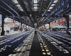 Realistic City paintings - so talented, and this one is a favorite - its my old neighborhood in brooklyn :)