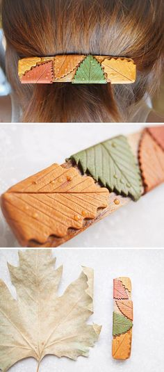 The perfect destination for falling leaves? Your hair. (Surprise: These are made from polymer clay!)